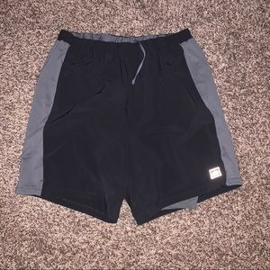 REÍ Black and Gray Athletic Shorts